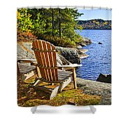 Adirondack Chairs At Lake Shore Shower Curtain