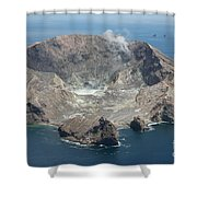 Aerial View Of White Island Volcano Shower Curtain