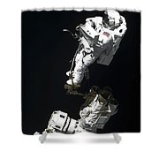 An Astronaut Anchored To A Mobile Foot Shower Curtain