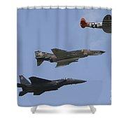 An F-15 Eagle, P-47 Thunderbolt Shower Curtain
