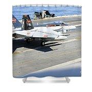An Fa-18e Super Hornet Lands Aboard Shower Curtain