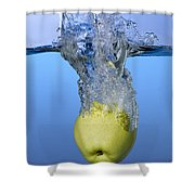 Apple Dropped In Water Shower Curtain