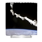 Astronaut Anchored To A Foot Restraint Shower Curtain