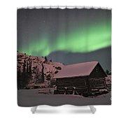 Aurora Borealis Over A Cabin, Northwest Shower Curtain