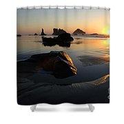 Bandon Beach Sunset Shower Curtain