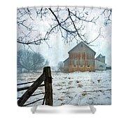 Barn In Winter Shower Curtain