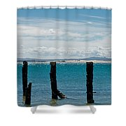 Beautiful Rotten Mooring On A Beach Shower Curtain