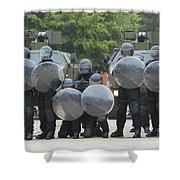 Belgian Infantry Soldiers Training Shower Curtain by Luc De Jaeger