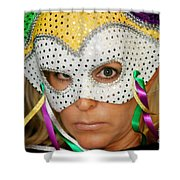 Blond Woman With Mask Shower Curtain by Henrik Lehnerer