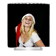 Blonde Woman With Santa Hat Shower Curtain