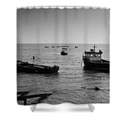 Boats Moored Off Of Leigh Essex Shower Curtain