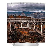 Bridge Over Autumn Shower Curtain