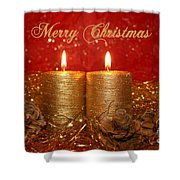 2 Candles Christmas Card Shower Curtain