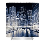 Chicago River Buildings At Night Shower Curtain