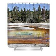 Chromatic Pool Hot Spring, Upper Geyser Shower Curtain