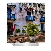Colonial Buildings In Old Cartagena Colombia Shower Curtain by David Smith