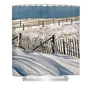 Drifting Snow Along The Beach Fences At Nauset Beach In Orleans  Shower Curtain