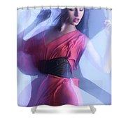 Fashion Photo Of A Woman In Shining Blue Settings Shower Curtain