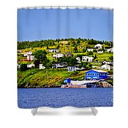Fishing Village In Newfoundland Shower Curtain by Elena Elisseeva