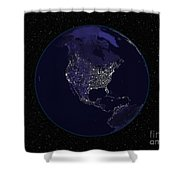 Full Earth At Night Showing City Lights Shower Curtain