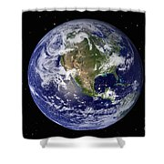 Full Earth Showing North America Shower Curtain