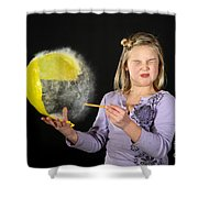 Girl Popping A Balloon Shower Curtain