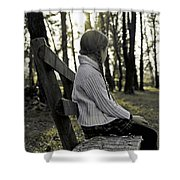 Girl Sitting On A Wooden Bench In The Forest Against The Light Shower Curtain