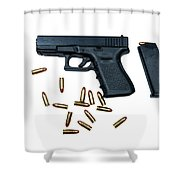 Glock Model 19 Handgun With 9mm Shower Curtain