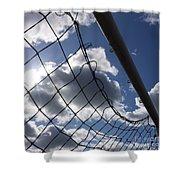 Goal Against Cloudy Sky. Shower Curtain