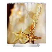 Golden Christmas Stars Shower Curtain