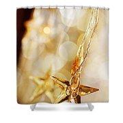 Golden Christmas Stars Shower Curtain