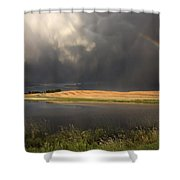 Hail Storm And Rainbow Shower Curtain