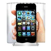 Hand Holding An Iphone Shower Curtain