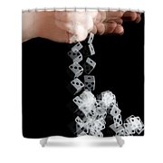 Hand Rolling Dice Shower Curtain