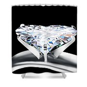 Heart Diamond Shower Curtain by Setsiri Silapasuwanchai