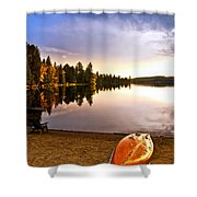 Lake Sunset With Canoe On Beach Shower Curtain
