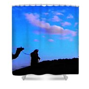 2 Late Evening Beduin Camel Walk In The Desert  Shower Curtain