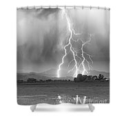 Lightning Striking Longs Peak Foothills 6 Shower Curtain by James BO  Insogna