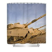 M1 Abrams Tanks At Camp Warhorse Shower Curtain