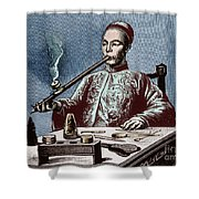 Man Smoking Opium Shower Curtain by Science Source
