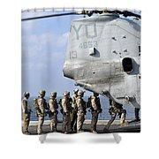 Marines Board A Ch-46e Sea Knight Shower Curtain