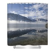 mist burning off Lake Bohinj Shower Curtain