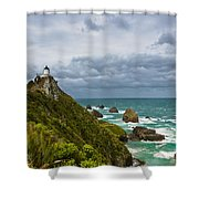 Nugget Point Light House And Dark Clouds In The Sky Shower Curtain