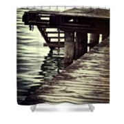 Old Wooden Pier With Stairs Into The Lake Shower Curtain by Joana Kruse