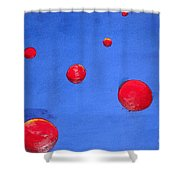 Orbs In Space 1 -- Crossing Paths Shower Curtain