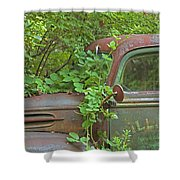 Overgrown Rusty Ford Pickup Truck Shower Curtain