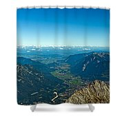 Panoramic View Zugspitze German Austrian Boarder Shower Curtain