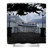 Passenger Ship On An Alpine Lake Shower Curtain