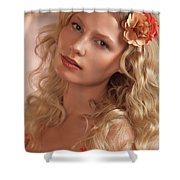 Portrait Of A Beautiful Young Woman Shower Curtain
