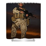 Portrait Of A U.s. Marine In Uniform Shower Curtain